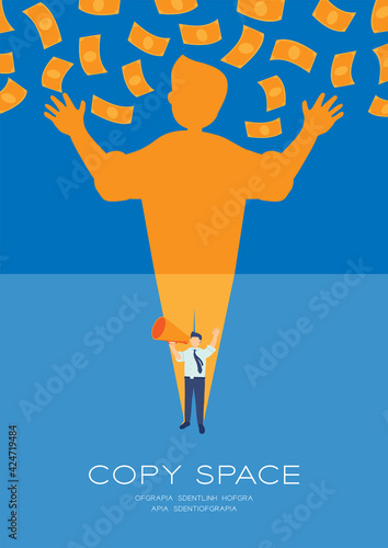 Obraz Businessman speech with Megaphone and money shadow, Press protest against dictatorship concept poster and social banner vertical design illustration isolated on blue background, vector eps 10 - fototapety do salonu