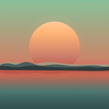 Vector Illustration Depicting The Sun And The Sea. Landscape In A Retro Style.