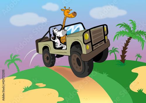 Żyrafa i zebra jadą przez sawannę, jazda samochodem terenowym po wybojach, zwierzaki uciekają z dżungli, szybka jazda terenówką po wertepach