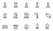 Set of Vector Line Icons Related to Chess. Chess piece, Checkmate. Pawn, Knight, Queen, Bishop, Horse, Rook. Editable Stroke. 48x48 Pixel Perfect.