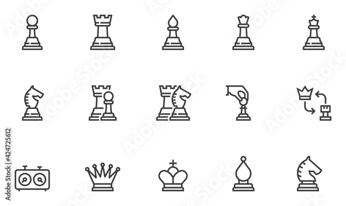 Canvastavla Set of Vector Line Icons Related to Chess