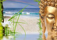 Composition Aquatique Zen, Bouddha, Lotus, Bambou, Arc-en-ciel Sur Mer