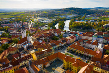 Aerial View Of Picturesque Czech Town Pisek In South Bohemia