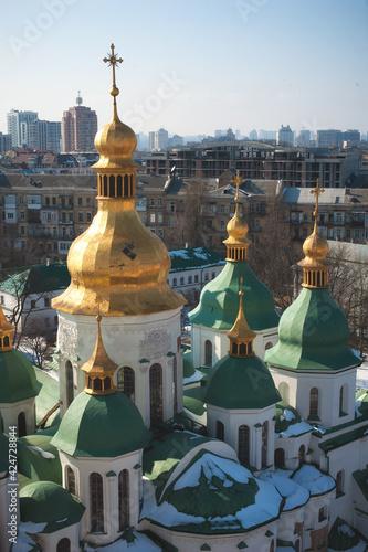 Tableau sur Toile Close up detail view of ukrainian Orthodox church cupolas