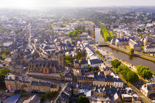 Aerial View Of Lannion City On The Lege River, Brittany Region In France