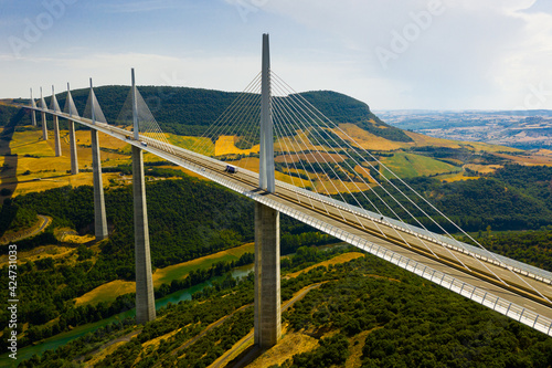 Canvas Print Aerial view of multispan cable stayed Millau Viaduct across gorge valley of Tarn
