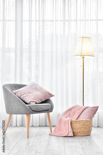 Obraz Interior of modern room with armchair and lamp - fototapety do salonu