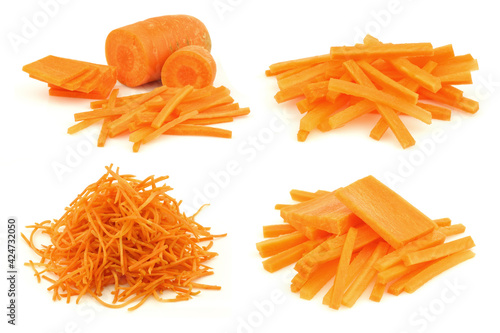 winter carrot cut in slices and julienne  on a white background Fototapet