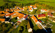 Aerial View Of Typical Village Cakov In The Czech Republic
