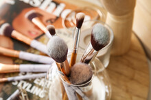 Set Of Makeup Brushes In Holder, Closeup