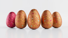 Easter Eggs Isolated Against A White Background. Chocolate Eggs Wrapped In Patterned Orange, Red And Silver Foil. 3D Render