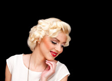 Pretty Blond Girl Model Like Marilyn Monroe In White Dress With Red Lips