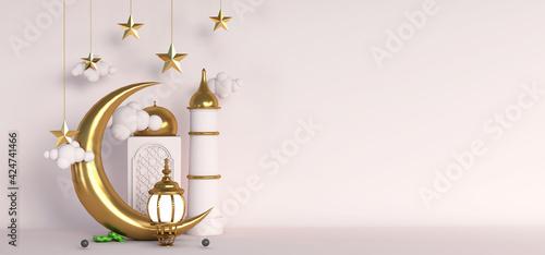 Photo 3d islamic decoration gold background for ramadan eid mubarak with golden mosque
