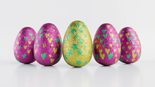 Easter Eggs Isolated Against A White Background. Chocolate Eggs Wrapped In Patterned Yellow, Pink And Green Foil. 3D Render