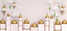 3d Islamic Decoration Gold Background For Ramadan Eid Mubarak With Golden Mosque, Crescent, Ketupat, Lantern, Drum, Canon, Star, Ornament
