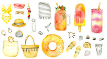 Watercolor Women's Summer Items -  Beach Mat, Bags, Bracelets, Wallet, Straw Hat,swimsuit, Sunglasses,  Bottle, Sea Shells, Swimming Ring, Flip-flops, Popsicle, Cold Drinks.  Isolated On White.