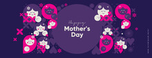 Mom's Day. Women's Day. Vector Flat Illustration. Abstract Backgrounds, Patterns About Mothers Day. Hearts, Abstract Geometric Shapes. Perfect For Poster, Label, Banner, Invitation.