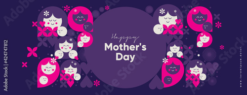 Fototapeta Mom's day. Women's Day. Vector flat illustration. Abstract backgrounds, patterns about mothers day. Hearts, abstract geometric shapes. Perfect for poster, label, banner, invitation. obraz