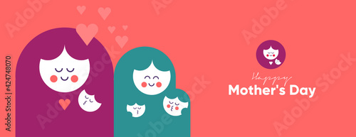 Obraz Mom's day. Women's Day. Vector flat illustration. Abstract backgrounds, patterns about mothers day. Hearts, abstract geometric shapes. Perfect for poster, label, banner, invitation. - fototapety do salonu