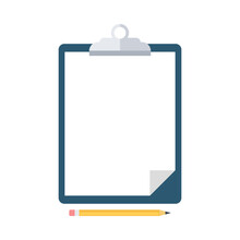 Pencil And Clipboard With Blank White Paper Isolated On White Background. Office Supplies. Vector Illustration.