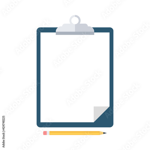Fototapeta Pencil and clipboard with blank white paper isolated on white background. Office supplies. Vector illustration. obraz