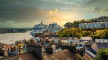 Cobh Harbor Amazing Sunset View Irish Landmark Ireland Touristic Attraction Cruise Ship