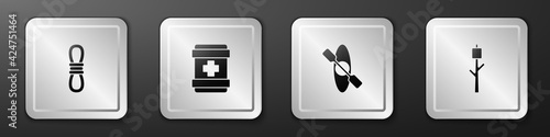 Fotografija Set Climber rope, First aid kit, Kayak or canoe and Marshmallow on stick icon