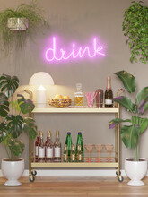3d Render Of A Modern Room With A Brass Mini Bar Trolley Cart With Glasses, Bottles Of Alcohol, A Drink Neon And Many Plants
