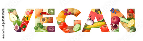 Fototapeta Letters from vegetables and fruits. Concept for Vegan food. Healthy products. Assortment of healthy nutrition. Hand drawn illustration. obraz