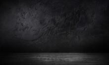 Concrete Wall Background Scene Dark Empty Room With Cement Floor