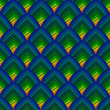 Colorful Seamless Pattern. Colorful Shape Tile. Vector Blue Green Tile.