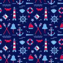 Seamless Texture From Sailing Elements. Pattern, Abstract Background, Wallpaper. Nautical   Collection, Marine Travel Icons.