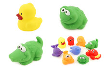 Colorful Collection Of Bathing Toys On A White Background