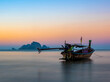 canvas print picture Traditional thai boats at sunset beach. Ao Nang Krabi province