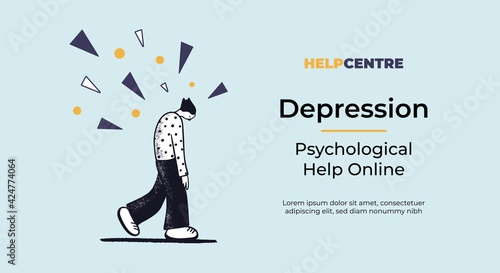 Obraz Web banner template with a concept of desperate man walking under the problems rain. Flat vector illustration. Psychological help online template. - fototapety do salonu