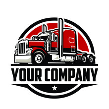 Semi Truck Logo. Trucking Company Logo. Premium Logo Vector