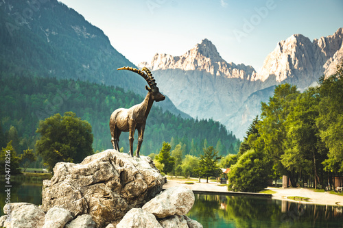 Fototapeta Mountain lake Jasna in Krajsnka Gora,  Slovenia. Triglav National Park, Julian alps. Travel slovenia. Mountain goat obraz