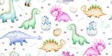 Seamless Pattern With Cute Baby Dinosaurs, Illustration