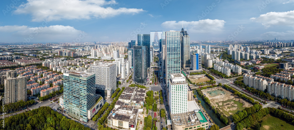 Fototapeta Aerial photography of Suzhou Jinji Lake architectural landscape skyline