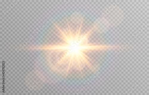 Canvas-taulu Vector golden light with glare