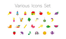 Icons Set Of Various Colourful Objects, Including Animals, Food, Toys And Others, Isolated On White Background