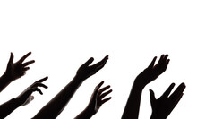Silhouette Of Begging Hands. Group Of Hunger Strike People. Impoverished Person Concept. Isolated On White Background