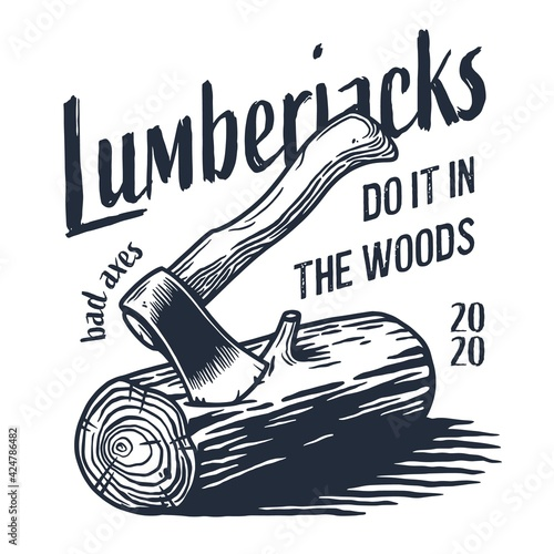 Obraz na plátně Lumberjack wood log with rings and ax for logo and emblem of carpenter