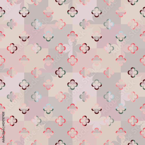 Stampa su Tela Abstract geometric seamless vector pattern with stylised big and little flowers on chessboard in retro style