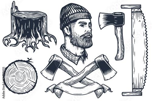 Fotografia Lumberjack or logger with axe, ax of carpenter