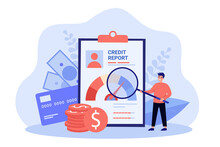 Male Businessman With Money And Credit Report. Bank Finance Document And Money Concept.Flat Vector Colorful Illustration Of Bank Account Report, Credit Score For Presentation Or Web Page