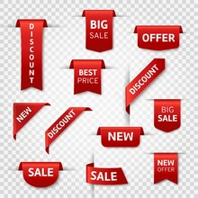 Red Ribbon Labels. Big Sale, New Offer And Best Price, Discount Silk Scarlet Promotional Event Banners. Isolated Vector Templates