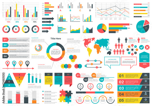 Infographics charts Fotobehang