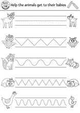 Vector Mothers Day Handwriting Practice Worksheet. Spring Printable Black And White Activity For Pre-school Children. Forest Tracing Game For Writing Skills With Cute Animals And Their Babies.
