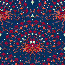 Seamless Vector Pattern With Floral Hand Fan On Dark Blue Background. Romantic Flower Curve Wallpaper Design. Decorative Tribal Fashion Textile.